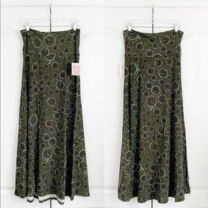 Lularoe | olive green bike print maxi skirt